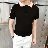 韩版夏季绅士翻领短袖t恤男士韩版修身短袖POLO衫潮青年针织衫男