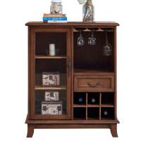 美式实木红酒柜现代简约小酒柜餐边柜整装小户型欧式客厅隔断柜 单门