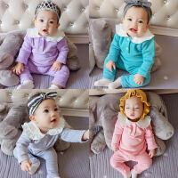 婴儿衣服装0岁6个月3宝宝长袖潮款套装5新生儿冬装两件套