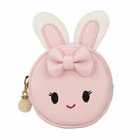 可爱零钱包女拉链兔耳朵圆形手挽小钱包钥匙环挂件卡通迷你硬币包