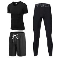 健身服男套装运动速干压缩短袖弹力篮球运动短裤跑步三件套