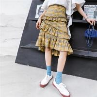 七格格时尚半身裙夏女新款长裙高腰不规则港味包臀裙荷叶复古格子裙