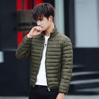 新款男装潮流轻薄款棉服修身外套短款连帽棉衣保暖外衣