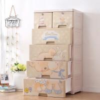 五斗柜 加厚考拉熊木马抽屉式收纳柜宝宝塑料婴儿童储物柜衣柜玩具五斗柜