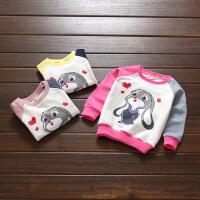 童装2018春款新款儿童圆领卫衣女童打底衫小童宝宝套头衫长袖打底