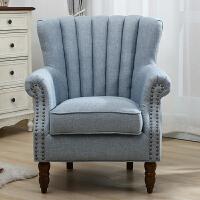 单人沙发双人美式简约客厅北欧小沙发网红款小户型老虎椅懒人布艺