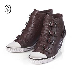 ASH艾熙 GENIAL高帮真皮休闲坡跟靴子 透气拉链增高女鞋87461