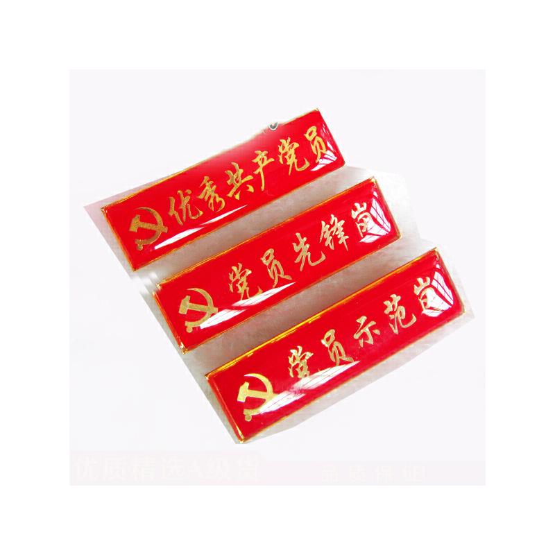 长方形优秀共产党员 积极分子 党员示范岗先锋岗胸牌徽章 10个装 支持定制