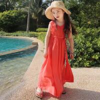 亲子装2015夏季母女装夏装连衣裙海边度假沙滩裙女童背心裙长裙子