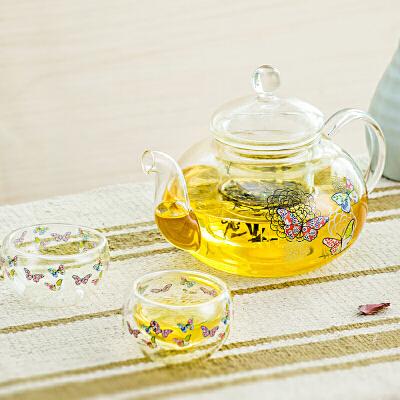 Evergreen爱屋格林美式印花耐热玻璃便携式一壶两杯茶具茶壶套装