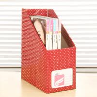 畸良 韩版创意白点纸质书本文具 桌面收纳盒桌面整理盒文件收纳盒(大号红色白点)