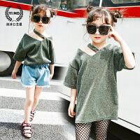 女童打底衫2017夏装新款童装韩版儿童挂脖斜肩金丝短袖长款T恤潮