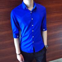 2018夏款男装衬衫韩版时尚七分袖衬衣潮百搭发型师修身中袖男衬衫