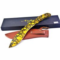 尼泊尔户外弯刀(骷髅金色版) 户外野营狗腿刀丛林刀 多用途探险求生工具刀
