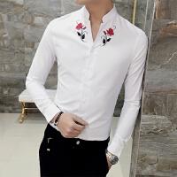 春季新款男士长袖衬衣青年韩版刺绣修身立领弹力免烫发型师衬衫男