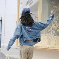 牛仔衣 女士2020春季新款韩版宽松个性字母印花短款长袖夹克女式学生牛仔外套