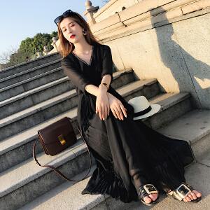 黑色连衣裙女2018春装新款韩版V领显瘦ins冷淡风雪纺长裙子夏