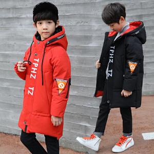 乌龟先森 儿童棉衣 男童字母印花简约长款棉袄冬季新款韩版时尚中大童男孩子休闲加厚儿童外套