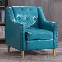 欧式单人沙发美式客厅小户型组合咖啡厅双人西餐桌椅复古酒吧沙发 湖蓝色 油蜡皮