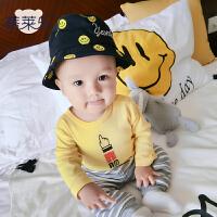 婴儿衣服0岁5个月宝宝季长袖上衣童童T恤新生儿外出服7新年