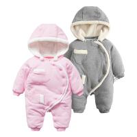 婴儿连体衣加厚秋冬男女宝宝长袖保暖哈衣爬服外出新生儿衣服冬季