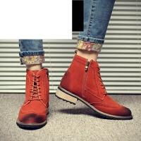 马丁靴男鞋秋季潮英伦雕花高帮反绒复古布洛克休闲