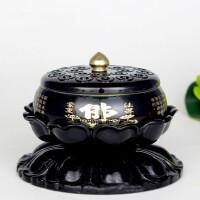 佛具莲花底座铜香炉纯铜心经檀香净炉盘香炉香道佛教用品