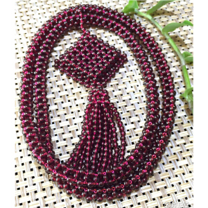 特级3M天然石榴石手工编织毛衣链项链,几百粒珠珠DCO(A722#)】