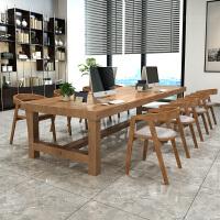 北欧实木办公桌会议长桌工业风会议室洽谈桌原木长条桌餐桌椅组合 360*120*75 板厚8公分