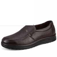 中年男士休闲鞋皮鞋一脚蹬爸爸鞋中老年软底防滑皮鞋单鞋男鞋加棉