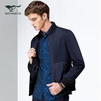 七匹狼夹克外套男装 青年商务时尚休闲棒球领夹克