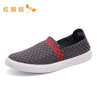 红蜻蜓新款圆头套脚舒适低跟轻便一脚蹬百搭板鞋休闲男鞋轻便板鞋
