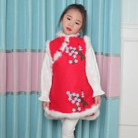 女童旗袍秋冬唐装公主马甲儿童新年中国风连衣裙过年喜庆宝宝装