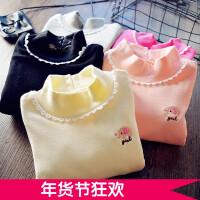 百搭~女童打底衫加绒加厚儿童宝宝长袖半高领韩版T恤2017冬季新款
