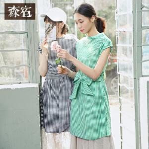 森宿夏装文艺学院立领格子修身棉短袖连衣裙女短裙