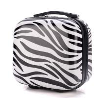登机子母箱14寸手提箱寸化妆包迷你拉杆箱小箱旅行箱包行李箱 斑马黑 镜面有膜 14寸(无)