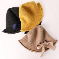 韩版羊毛保暖百搭毛线针织帽帽子女女士优雅蝴蝶结卷边渔夫帽