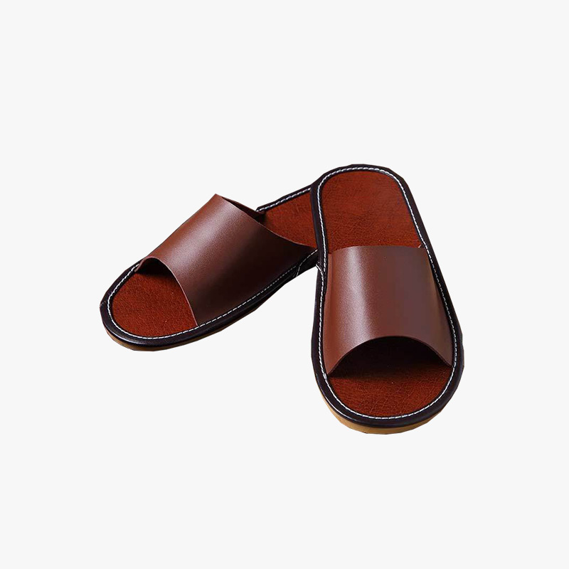 当当优品 男女家居拖鞋 牛皮拖鞋 天然橡胶底凉拖鞋 室内防滑地板拖鞋T1606