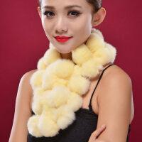 韩版时尚加厚保暖围巾御寒围脖獭兔毛皮草女士围巾