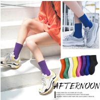 堆堆袜女中筒袜韩版学院风网红纯棉彩色袜子夏季薄款日系百搭