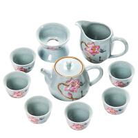 唐丰仿宋汝窑茶具套装陶瓷茶杯茶壶公道杯家用整套功夫茶具泡茶器