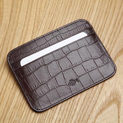 男式卡包牛皮卡夹时尚鳄鱼纹零钱包多卡位小卡包 咖色 鳄鱼纹 发货周期:一般在付款后2-90天左右发货,具体发货时间请以与客服协商的时间为准