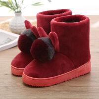 高帮保暖棉拖鞋全包跟女卡通可爱居家棉靴防滑厚底