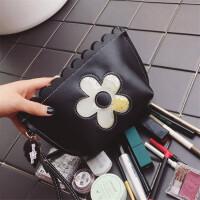 化妆包韩国大容量收纳包女化妆袋小号便携手拿包可爱淑女化妆品包 黑色