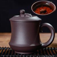 宜兴紫砂杯名家藏龙卧虎全手工过滤内胆隔舱杯大茶杯380ML 水杯 杯子