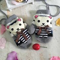女宝宝手套秋冬款儿童韩版带挂脖绳加厚加绒保暖小熊卡通连指手套