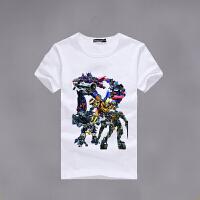 儿童超人T恤男童短袖蜘蛛侠图案标志宝宝衣服变形金刚钢铁侠