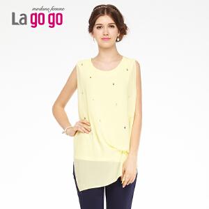 lagogo拉谷谷夏季新款心形烫钻不规则下摆上衣