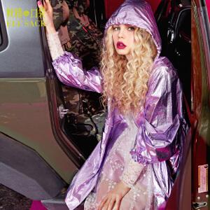 【每满150减50】妖精的口袋海伯利安春秋装女欧美金属色连帽外套系带风衣女长款