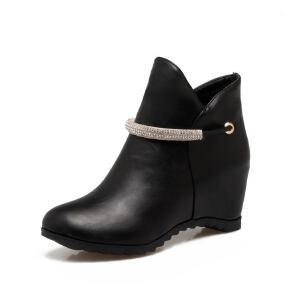 ELEISE美国艾蕾莎新品057-X077韩版超纤皮内增高女士短靴